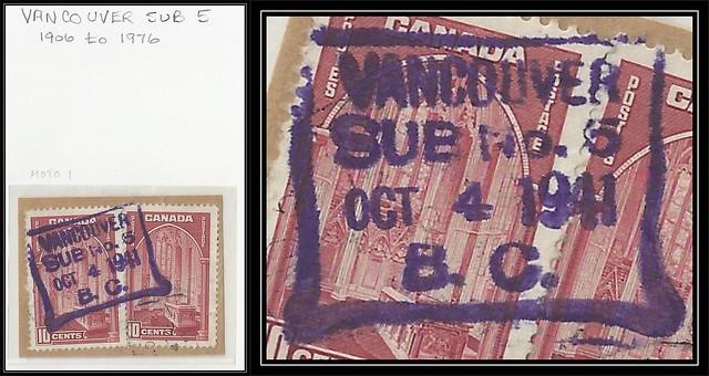 British Columbia / B.C. Postal History - VANCOUVER SUB POST OFFICE No. 5 - Example of MOTO Cancel (MOTO1) on Piece (#2)