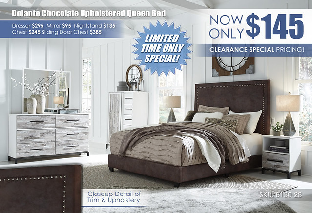Dolante Queen Chocolate Bed Clearance_B130-28