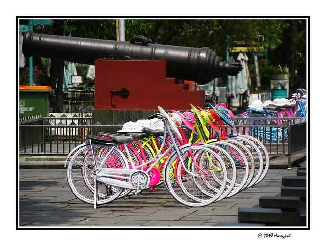 old cannon and line of bikes