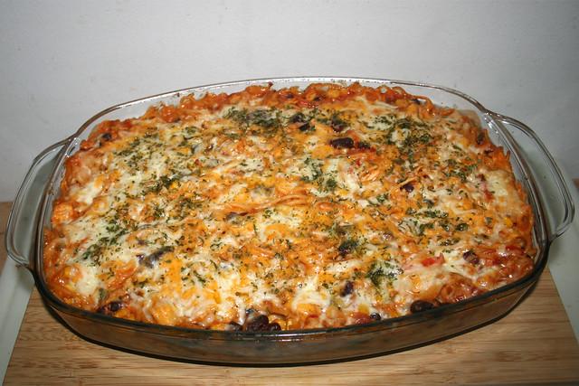 39 - Spaghetti pasta bake with chipotle honey lemon chicken - Finished baking / Spaghettiauflauf mit Chipotle-Honig-Limonen-Hähnchen - Fertig-gebacken