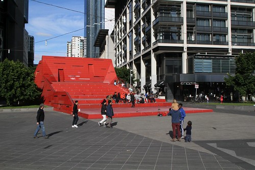 'Red Stair' amphitheatre at Queensbridge Square, atop the Southbank Boulevard entrance to the Crown Casino underground car park