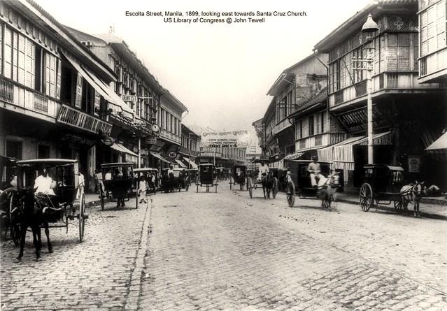 Escolta Street, Manila, 1899, looking east towards Santa Cruz Church.