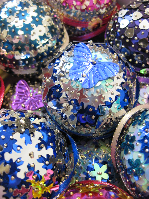 Blue, Silver, Purple and Pink Christmas Baubles