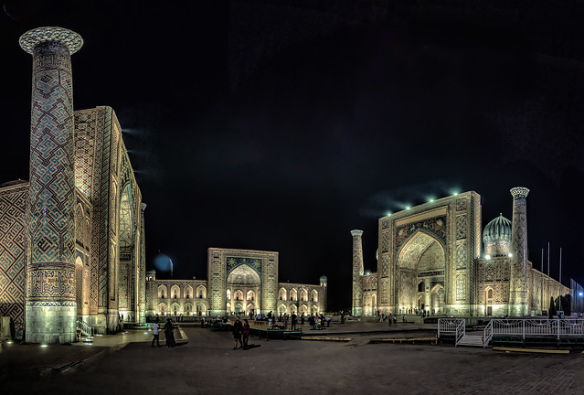 the Registan square by night