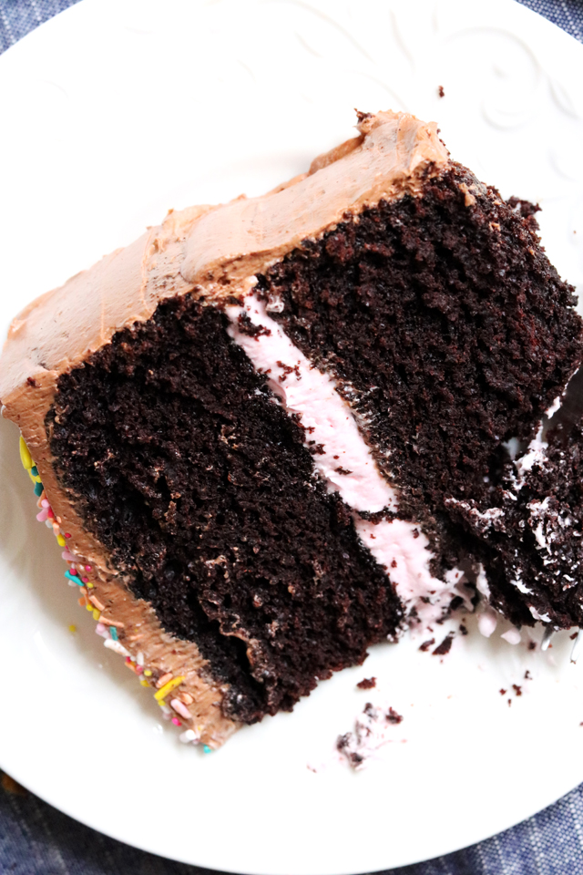 Black Magic Chocolate Cake with Chocolate Marshmallow Frosting and Rose Buttercream