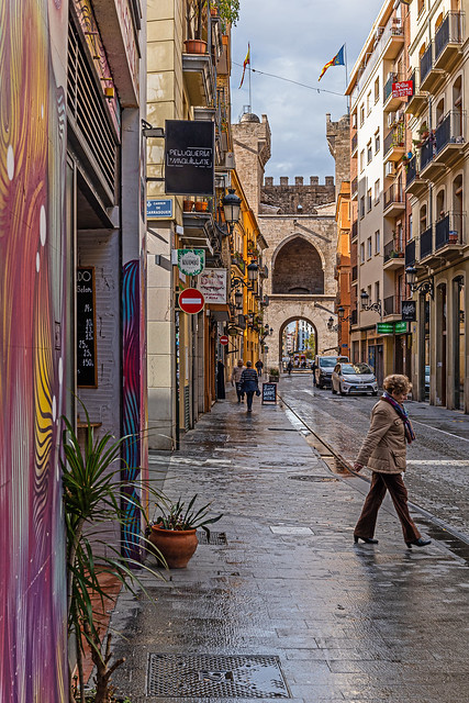 A Wet Valencia Street (Torres de Quart in the background) (Panasonic DC-S1 & Sigma 45mm f2.8 Prime) (1 of 1)
