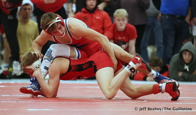 126 Semifinal - Pierson Manville (Shakopee) 20-2 won by decision over Chase DeBlaere (Simley) 15-2 (Dec 3-2). 191221AJF0175