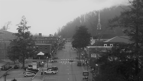 appalachianmountains appalachia gerrydincher sylva jacksoncounty northcarolina stairs mappingmainstreet mappingmain mainstreet blackandwhite valley fog blueridgeinn smokymountains nc