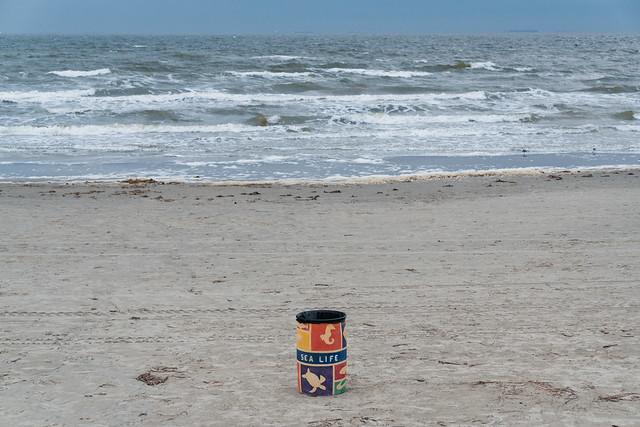 Galveston Beach - Sea Life Trash Container, Texas