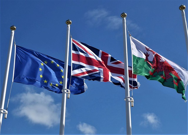 European, British, Welsh flags - Fishguard Harbour
