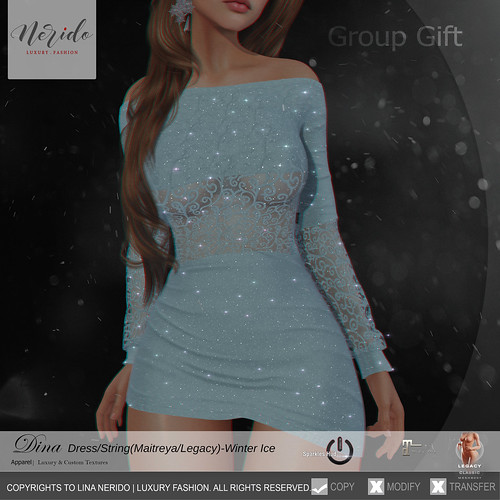 ~Nerido~Dina Dress(Maitreya/Legacy) Winter Ice Group Gift