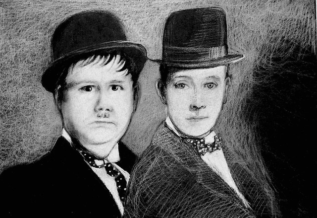 Portrait of Laurel and Hardy. Last stage of 3. White pencil drawing on black card by jmsw. Contrast in black pencil.