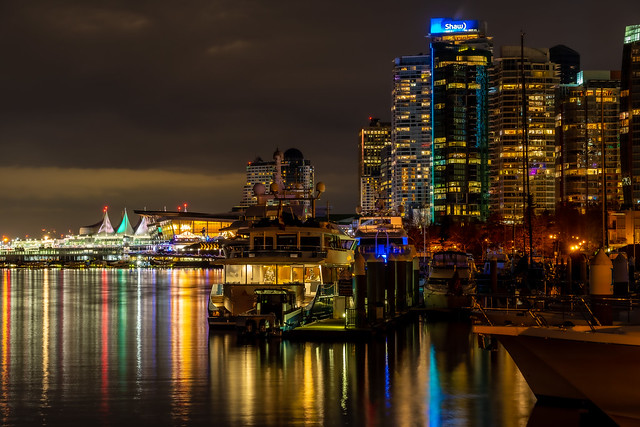 Coal Harbour by night (Explored)