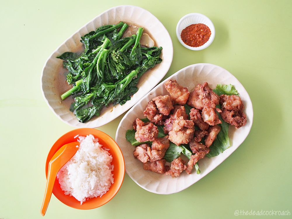 chinatown, chinatown complex, claypot & cooked food kitchen, food, food review, review, singapore, 砂煲小厨, kailan with oyster sauce,har cheong gai,prawn paste chicken,