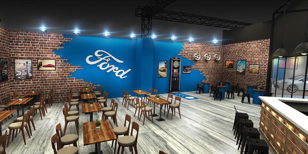 【圖二】Ford以美式鄉村酒吧概念鋪陳客戶洽談區,提供美式特色餐飲小點-1