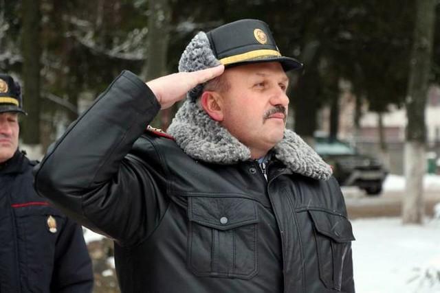 Belarus police, officer in leather uniform jacket and leather visor har