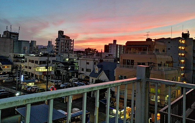 Sunset from our hotel room on our last night in Japan. by bryandkeith on flickr