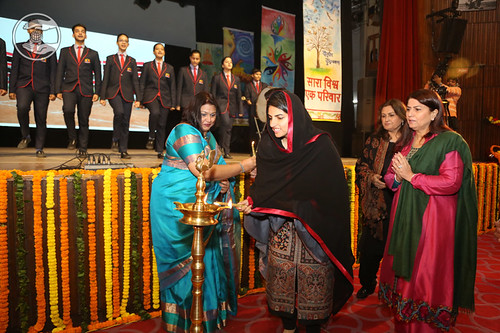 Her Holiness lighting the lamp –Inaugural Ceremony