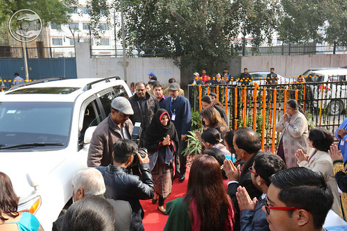 Her Holiness's arrival at the venue