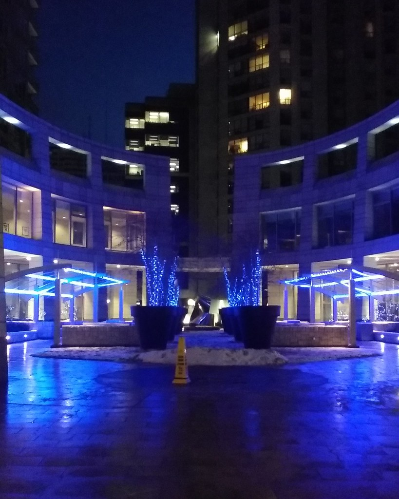 Anne Johnston Courtyard, Sunday morning #toronto #yongeandeglinton #mintomidtown #annejohnstoncourtyard #blue #lights #morning #latergram