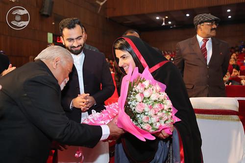 Satguru Mata Ji being welcomed by SC Talwar Ji, Member EC SNM