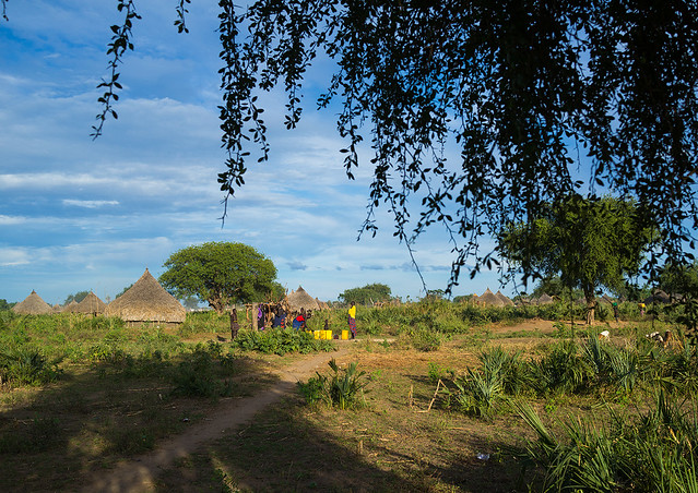 Traditional Mundari tribe village, Central Equatoria, Terekeka, South Sudan