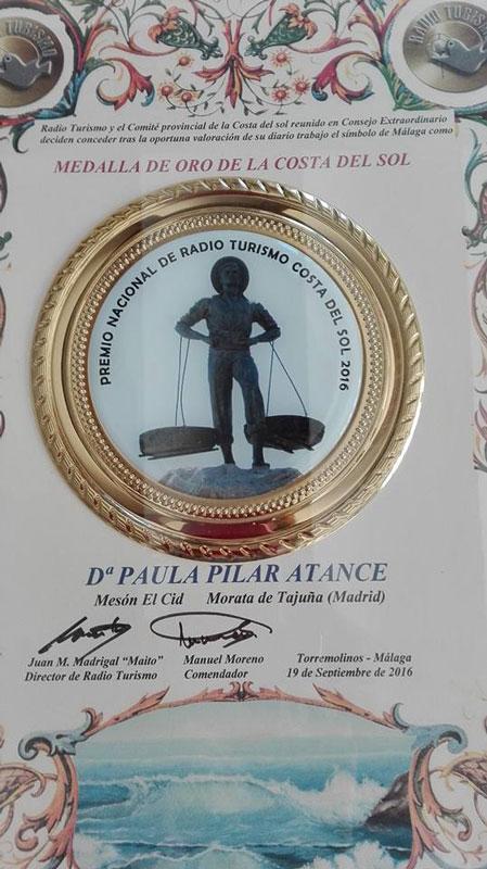 2016 - Premio Medalla de oro de la Costa del Sol