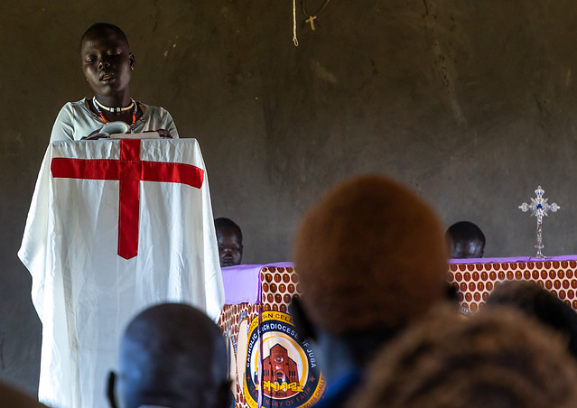 Mundari tribe people celebrating a sunday mass in a church, Central Equatoria, Terekeka, South Sudan