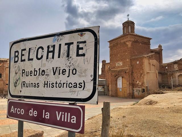 Aquí comienzan las visitas guiadas a Belchite Viejo (Punto de encuentro)