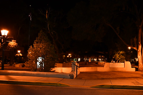 Taos Plaza at night. From History Comes Alive in Taos, New Mexico
