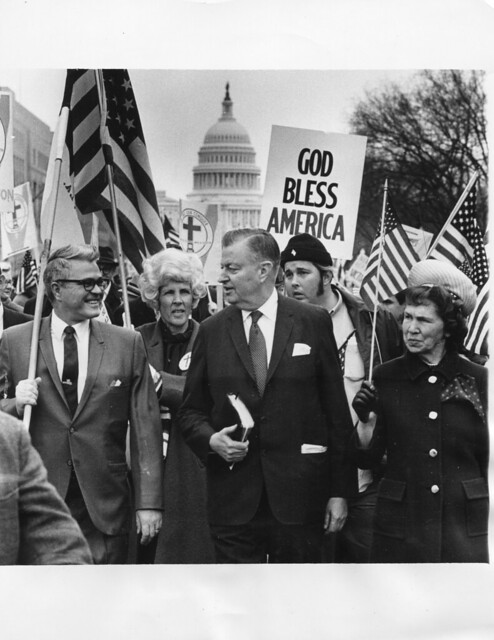 Rev. McIntire leads pro-war march: 1970