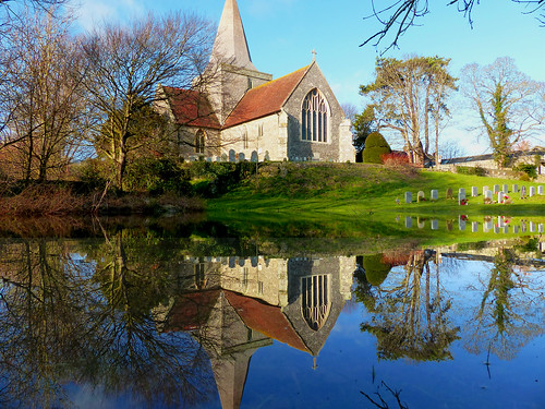 alfriston standrewschurch church reflection reflections water pond tree bluesky explore