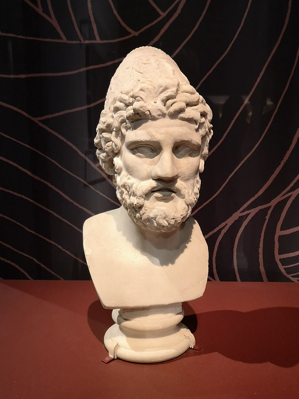 A marble head of Odysseus. Taken at the Troy: Myth and Reality exhibition at the British Museum © Icy Sedgwick
