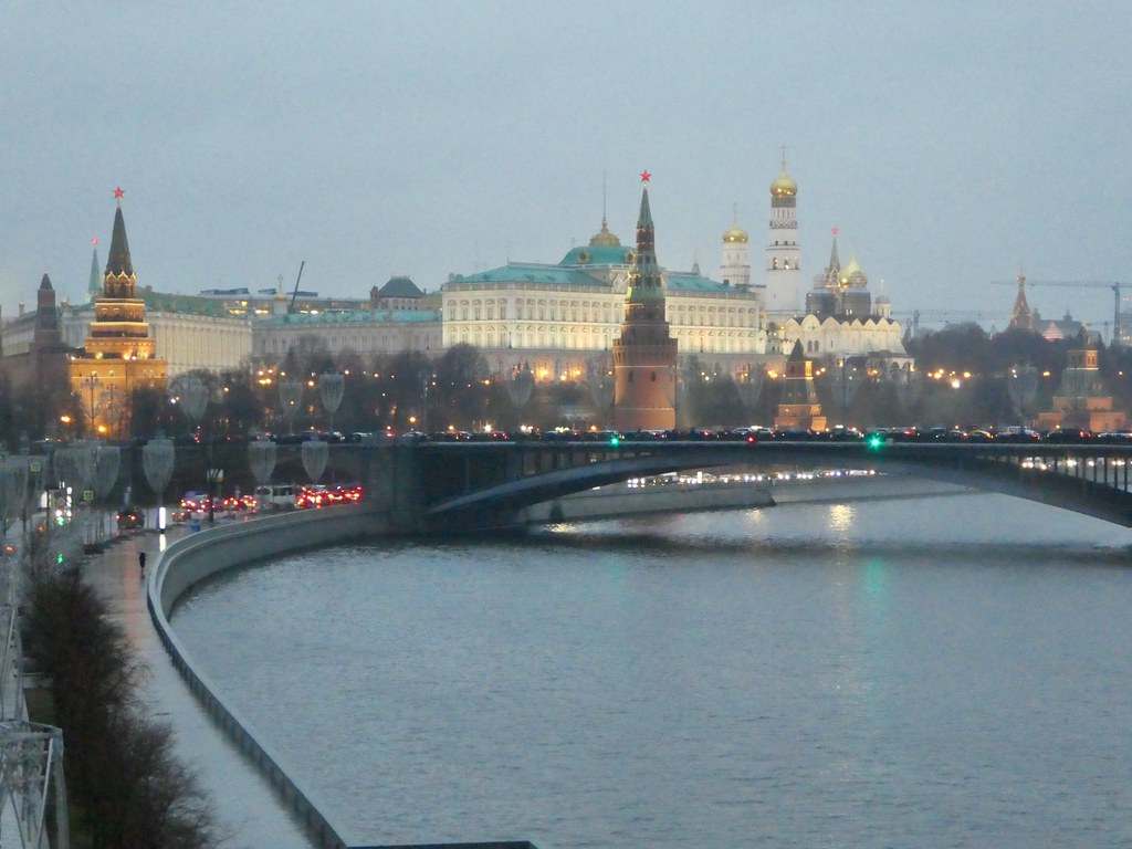 Views of the Kremlin from the footbridge near Christ the Saviour Cathedral