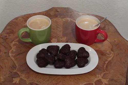 Gefüllte Lebkuchenherzen (von Alnatura) zum Nachmittagskaffee