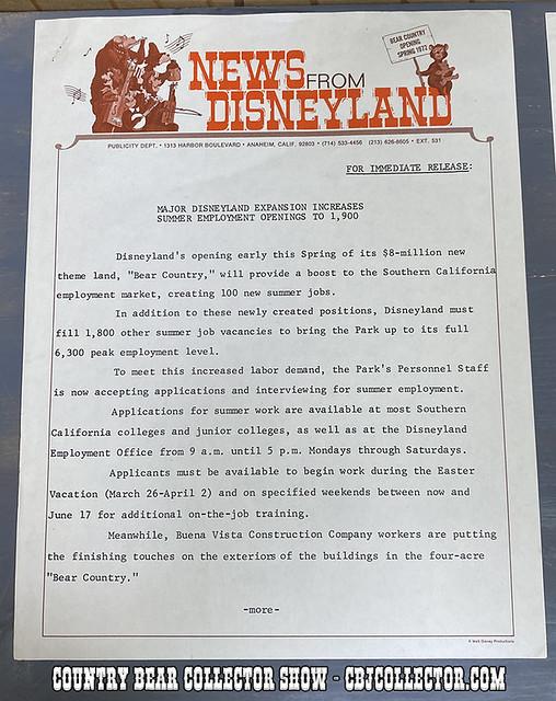 1972 Disneyland Bear Country Press Release - CBCS #236