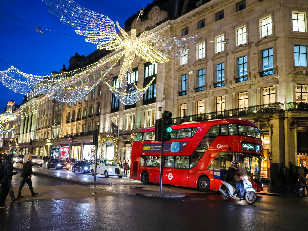 Luces de navidad en Oxford street, Londres