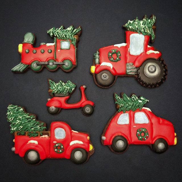 Christmas Trees on Vehicles Cookies