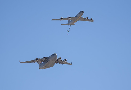 KC-135 and C-17 in Refueling Formation