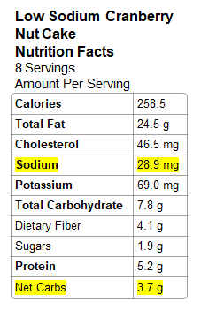 Photo: Nutrition Info - Low Sodium Cranberry Nut Cake