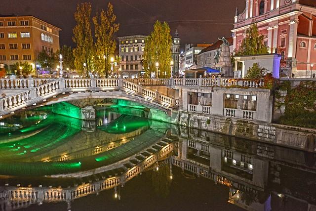 Ljubljana Slovenia Night Reflection DSC_6904