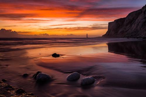 beachyhead fallingsands cowgap lighthouse sunset beach reflection seascape sussex england uk canon 80d 1750mm leefilters