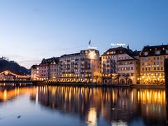Luzern CH. Vierwaldstättersee. Blue hour.
