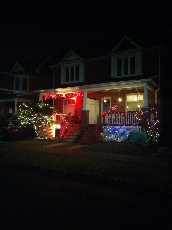 Two houses #toronto #highparknorth #pacificave #lights #night #christmas #christmaslights #white #red #latergram