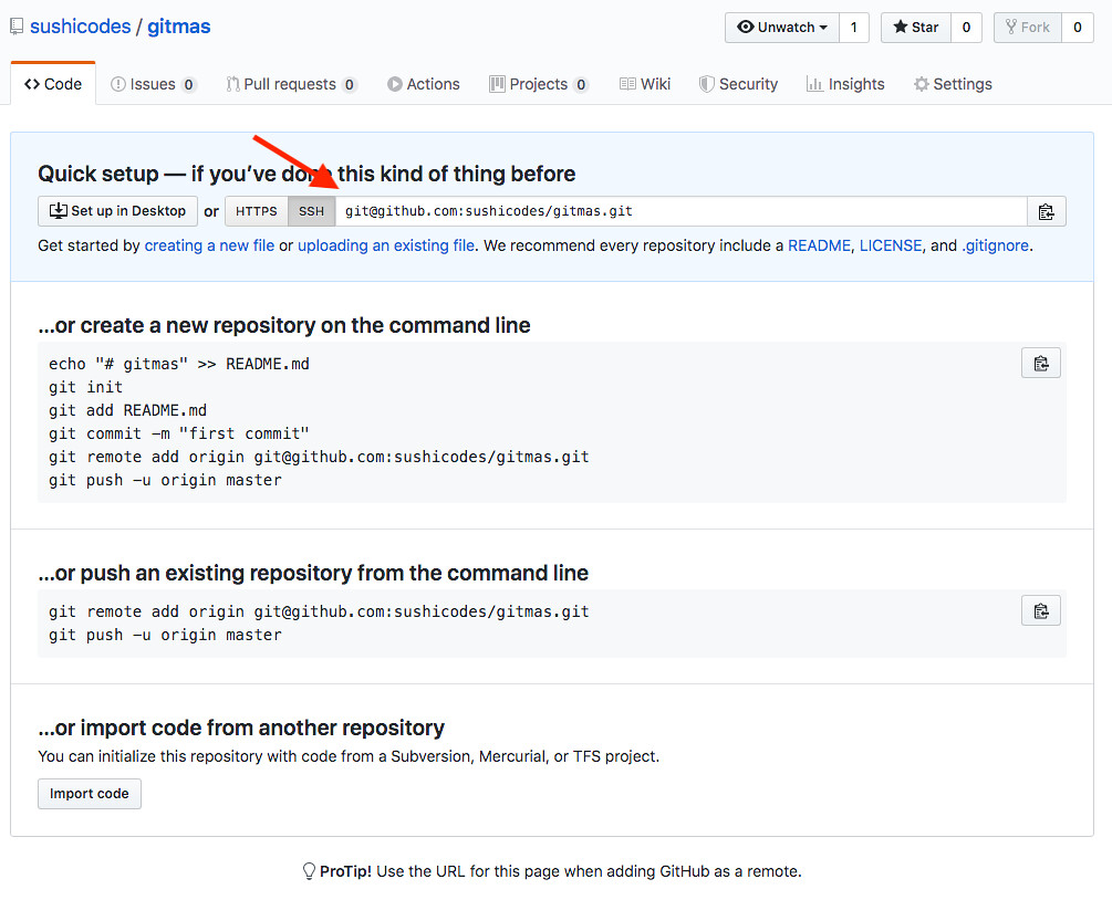 Screenshot of empty GitHub repository with an arrow pointing to the SSH box