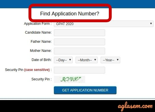 GPAT 2021 admit card download if forgot application number
