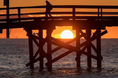 sunrise fisherman fishing pier dock goleta goletabeach santabarbara santabarbarachannel twilight dawn morning sun