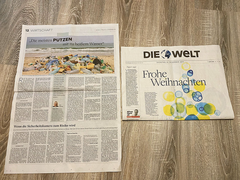 """Die Welt - Business section - main page - """" Plastic garbage often produced by Procter & Gamble - P & G"""""""