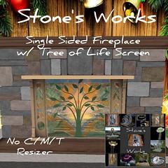 Single Sided Fireplace w Screen Stone's Works