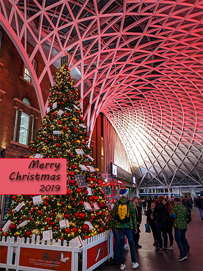 Christmas at King's Cross in London. Shot from Platform 9 and 3/4.